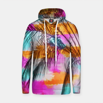 palm tree with colorful painting abstract background in pink orange blue Cotton hoodie thumbnail image