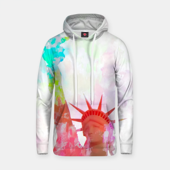 Thumbnail image of Statue of Liberty with colorful painting abstract background in red pink blue yellow Cotton hoodie, Live Heroes