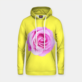 Thumbnail image of closeup pink rose with yellow background Cotton hoodie, Live Heroes
