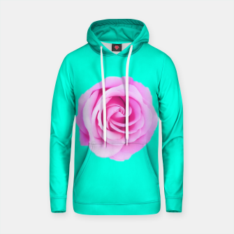 Thumbnail image of closeup pink rose with green background Cotton hoodie, Live Heroes