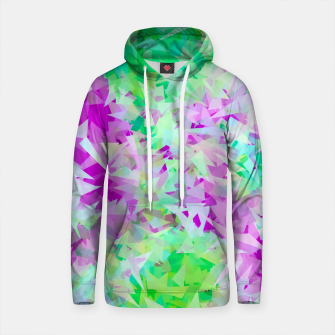 Thumbnail image of psychedelic geometric triangle abstract pattern in purple and green Cotton hoodie, Live Heroes
