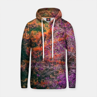 Thumbnail image of autumn tree in the forest in purple and brown Cotton hoodie, Live Heroes