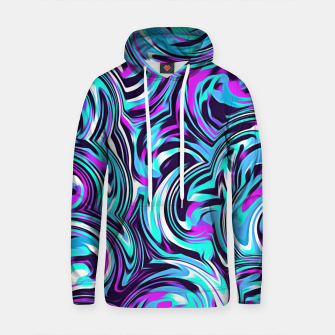 Thumbnail image of spiral line drawing abstract pattern in blue pink black Cotton hoodie, Live Heroes
