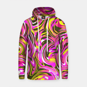 Thumbnail image of spiral line drawing abstract pattern in pink yellow black Cotton hoodie, Live Heroes