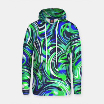Thumbnail image of spiral line drawing abstract pattern in blue and green Cotton hoodie, Live Heroes