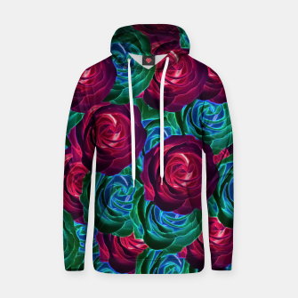 Thumbnail image of closeup blooming roses in red blue and green Cotton hoodie, Live Heroes