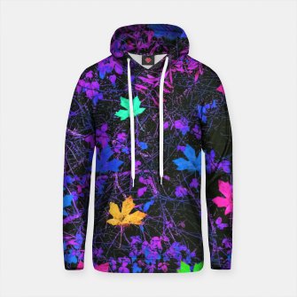 Thumbnail image of maple leaf in pink blue green yellow purple with pink and purple creepers plants background Cotton hoodie, Live Heroes