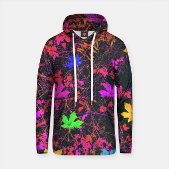 Thumbnail image of maple leaf in yellow green pink blue red with red and orange creepers plants background Cotton hoodie, Live Heroes