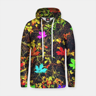 Thumbnail image of maple leaf in blue red green yellow pink orange with green creepers plants background Cotton hoodie, Live Heroes