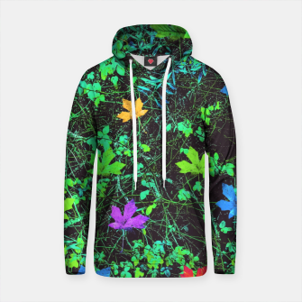 Thumbnail image of maple leaf in pink blue green yellow orange with green creepers plants background Cotton hoodie, Live Heroes