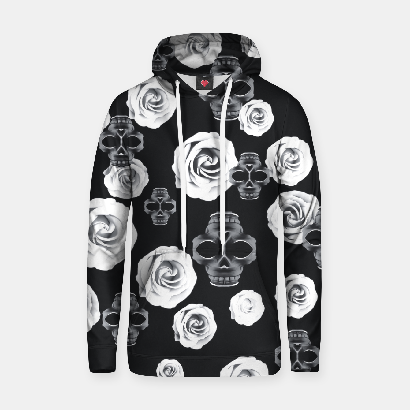Image of vintage skull and rose abstract pattern in black and white Cotton hoodie - Live Heroes