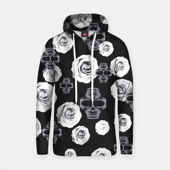 vintage skull and rose abstract pattern in black and white Cotton hoodie thumbnail image