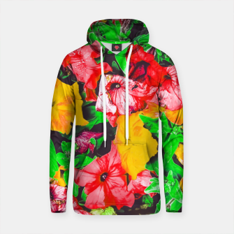 Thumbnail image of closeup flower abstract background in pink red yellow with green leaves Cotton hoodie, Live Heroes