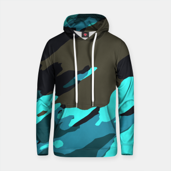 camouflage splash painting abstract in green brown blue Cotton hoodie thumbnail image