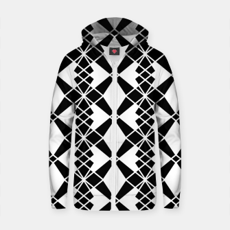 Miniaturka Abstract geometric pattern - black and white. Cotton zip up hoodie, Live Heroes