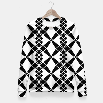 Miniaturka Abstract geometric pattern - black and white. Woman cotton sweater, Live Heroes
