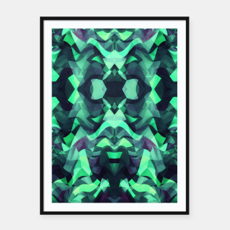 Thumbnail image of Abstract Surreal Chaos theory in Modern poison turquoise green Framed poster, Live Heroes