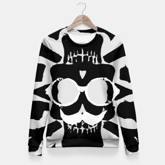 Miniature de image de old funny skull with glasses art portrait in black and white Woman cotton sweater, Live Heroes