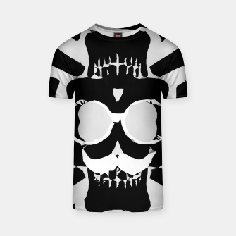Miniature de image de old funny skull with glasses art portrait in black and white T-shirt, Live Heroes