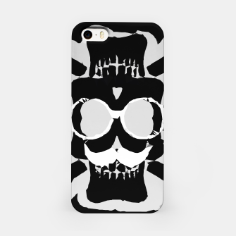 Miniature de image de old funny skull with glasses art portrait in black and white iPhone Case, Live Heroes