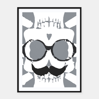Thumbnail image of old funny skull art portrait in black and white Framed poster, Live Heroes