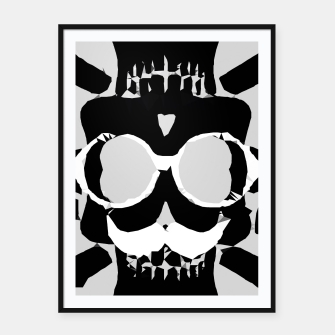 Miniature de image de old funny skull with glasses art portrait in black and white Framed poster, Live Heroes