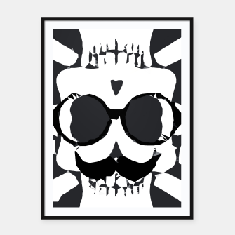 Thumbnail image of old funny skull and bone art portrait in black and white Framed poster, Live Heroes