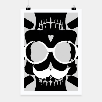 Miniature de image de old funny skull with glasses art portrait in black and white Poster, Live Heroes