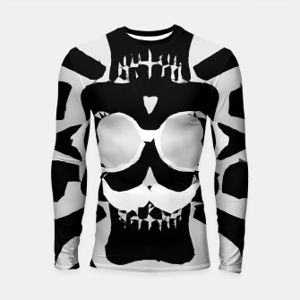 Miniature de image de old funny skull with glasses art portrait in black and white Longsleeve rashguard , Live Heroes