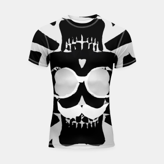 Miniature de image de old funny skull with glasses art portrait in black and white Shortsleeve rashguard, Live Heroes