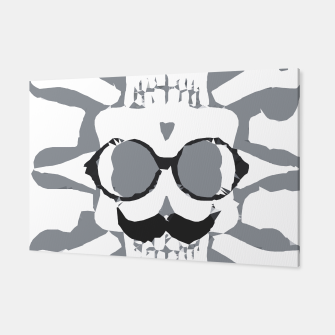 Thumbnail image of old funny skull art portrait in black and white Canvas, Live Heroes