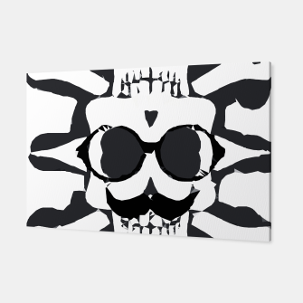Thumbnail image of old funny skull and bone art portrait in black and white Canvas, Live Heroes