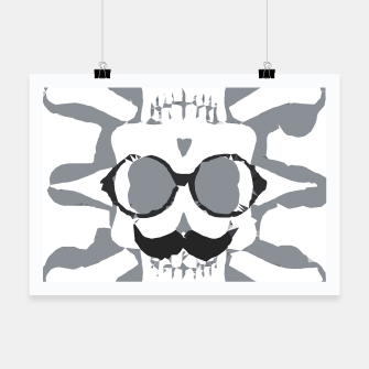 Thumbnail image of old funny skull art portrait in black and white Poster, Live Heroes