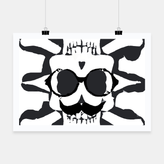 Thumbnail image of old funny skull and bone art portrait in black and white Poster, Live Heroes