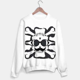 Thumbnail image of old funny skull and bone art portrait in black and white Sweater regular, Live Heroes