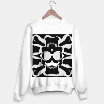 Thumbnail image of old funny skull with glasses art portrait in black and white Sweater regular, Live Heroes