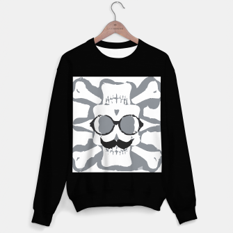 Thumbnail image of old funny skull art portrait in black and white Sweater regular, Live Heroes