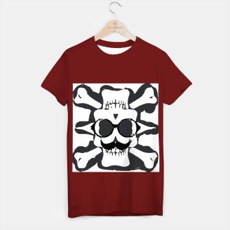 Thumbnail image of old funny skull and bone art portrait in black and white T-shirt regular, Live Heroes