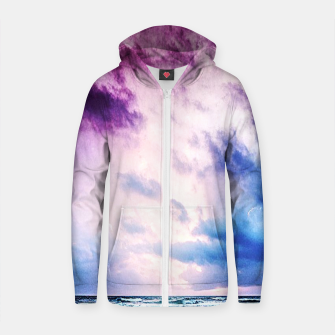 Thumbnail image of Cloudy shores Cotton zip up hoodie, Live Heroes