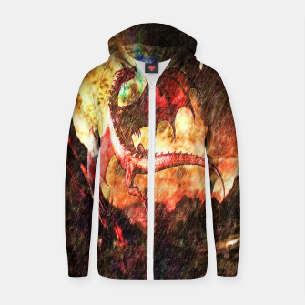 Thumbnail image of Dragon's fire Cotton zip up hoodie, Live Heroes
