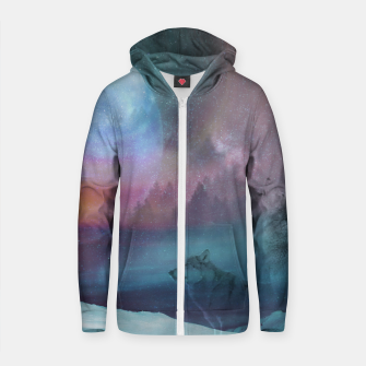 Thumbnail image of Howling at the moon Cotton zip up hoodie, Live Heroes