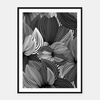 Thumbnail image of Grey Big Flowers Framed poster, Live Heroes