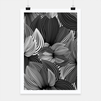 Thumbnail image of Grey Big Flowers Poster, Live Heroes