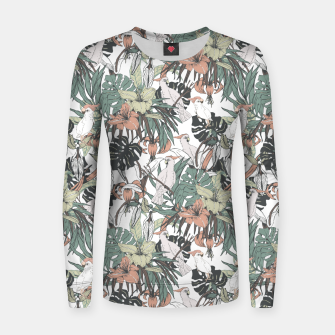 Thumbnail image of Pattern drawing exotic birds in the rainforest Sudadera de algodón para mujer, Live Heroes
