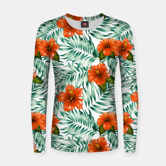 Thumbnail image of Botanical pattern with tropical flowers Sudadera de algodón para mujer, Live Heroes