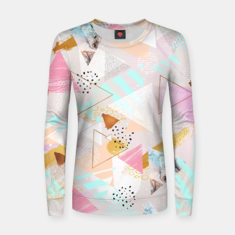 Miniaturka Abstract geometric textures and marble Sudadera de algodón para mujer, Live Heroes