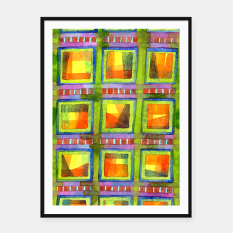 Thumbnail image of Light behind colorful geometric Windows  Framed poster, Live Heroes
