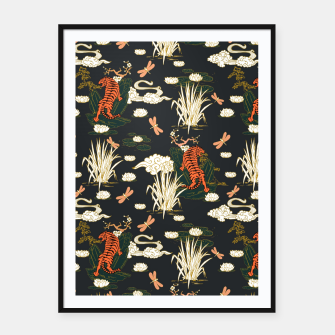 Thumbnail image of Asian tigers illustration pattern Cartel con marco, Live Heroes