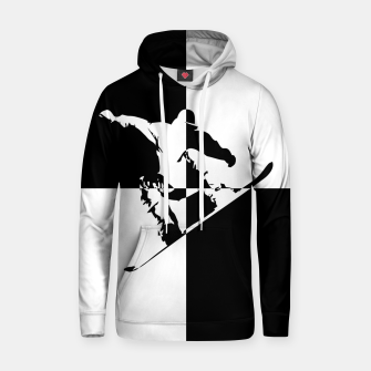 Thumbnail image of Black and White Snow Boarder Cotton hoodie, Live Heroes
