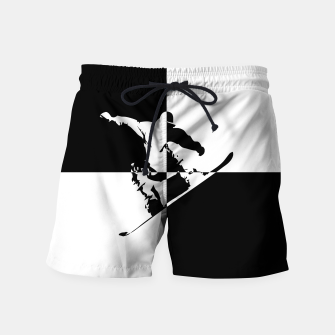 Thumbnail image of Black and White Snow Boarder Swim Shorts, Live Heroes